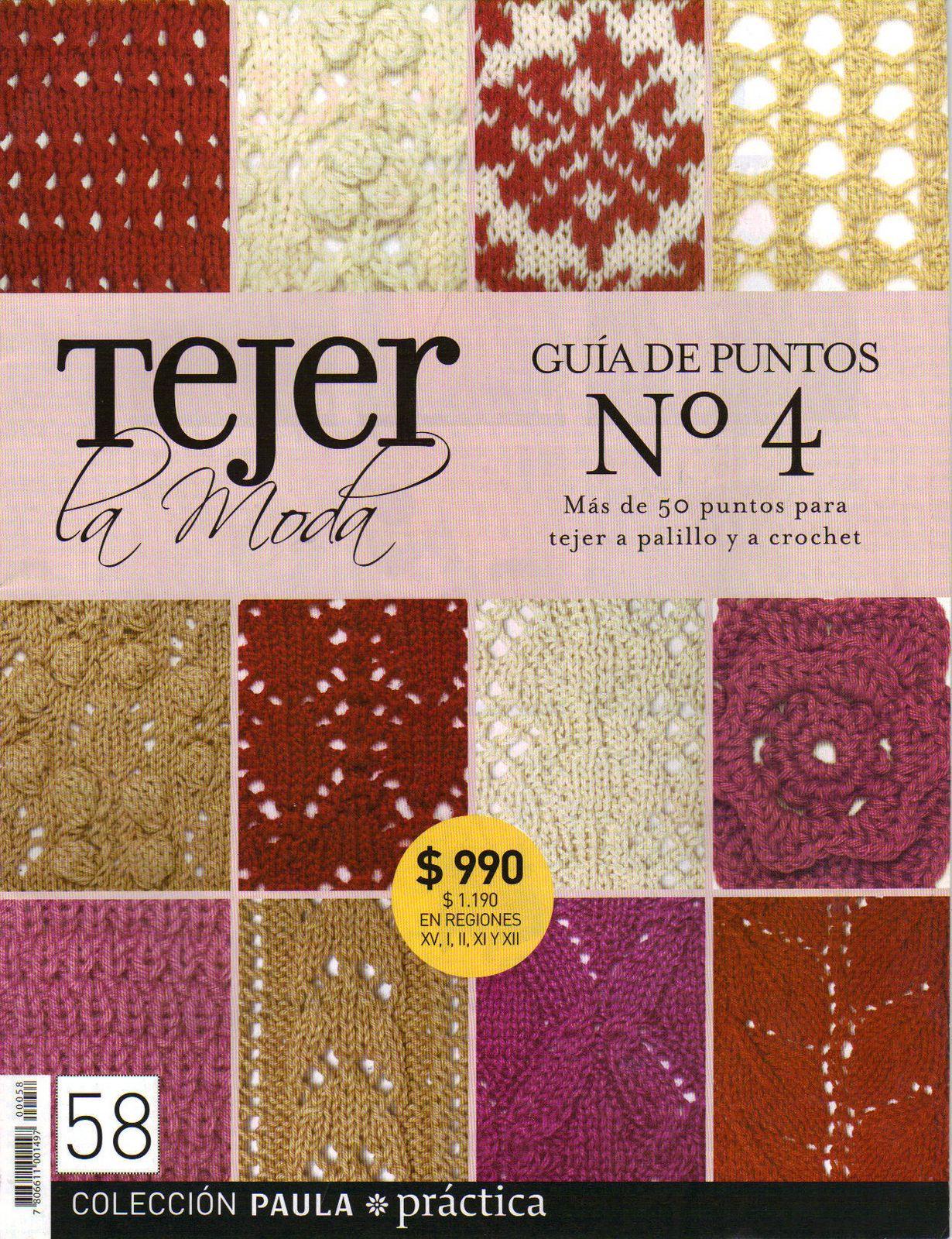 Revista Con Guia De Puntos Para Tejer A Palillo Y